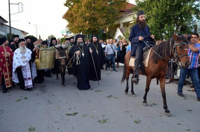 Η μεταφορά του αγίου λειψάνου της Αγίας Νεομάρτυρος Ακυλίνης ή Αγγελινής της Ζαγκλιβερινής, από τον τόπο ενταφιασμού της στον τόπο μαρτυρίου της 249 μετά. Όπως και τότε, το λείψανό της τοποθετήθηκε επί ημιόνου σε ειδικά διαμορφωμένο κοφίνι και διήλθε τον παλαιό δρόμο  που ενώνει την Όσσα με το Ζαγκλιβέρι.