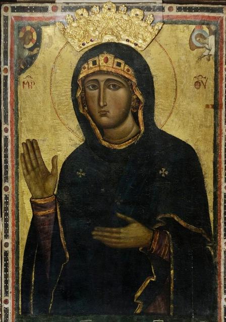 Ιταλοβυζαντινό (;) αντίγραφο του 13ου αιώνα της Παναγίας Αγιοσορίτισσας. Διαστάσεις 65 Χ 103 εκ. Σήμερα βρίσκεται στην εκκλησία: Chiesa di Santa Maria Maggiore, Τίβολι.